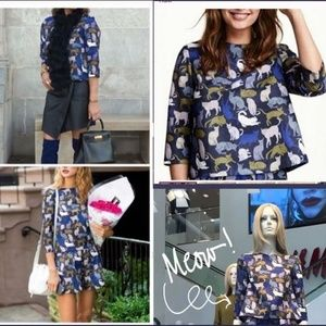 H&M textured shirt blouse top  with cat print